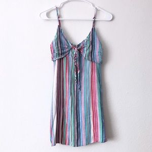 Promesa Striped Tie Front Spaghetti Strap Dress